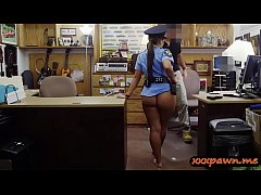 Bubble butt police officer sucks off and gets her pussy drilled by pawn dude at the pawnshop