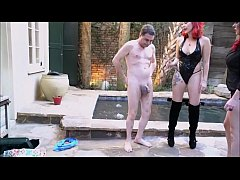 The RED SISTERS (Lady Karma and Roxie Burns) ballbusting Andrea Diprè