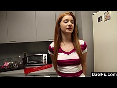 Redhead hottie sucks my dick and gets fucked on...