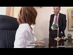 Asian slut getting fucked by her boss politely