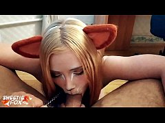 Kitsune Deepthroat Dick and Cum in Mouth