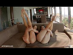 Adriana and Rozalina messy swallow threesome fuck with sperm sharing by SpermSwap