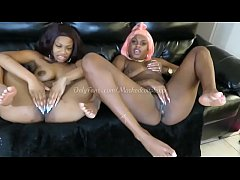 Two ebony girls squirt together while playing with their pussies ig @mrs.masked Twitter @mrsmasked