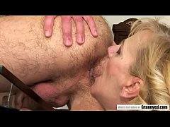 Young guy cheats on her girlfriend with a GRANNY!