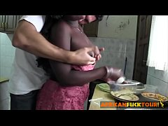 Interracial fuck in the kitchen