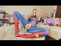Amateur teen in suit Captain Marvel tests new toys Bad Dragon Sia Siberia