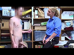 Female mall cop MILF blackmails a young guy int...
