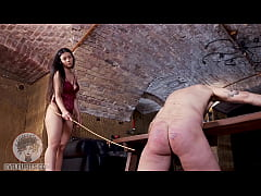 Helpless slave is restrained