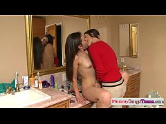 Taboo threeway action with facialized stepmom