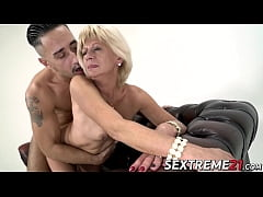 Naughty granny bouncing on younger dick