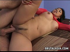 Ass fucked busty Asian babe gets fucked hard