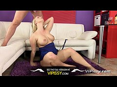 Buxom blonde hungry for a taste of her man's pee