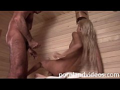 hard anal sex in sauna petite blonde slut takin...