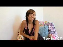 Delicious teen is rubbing her pussy before givi...