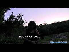 Clip sex PublicAgent HD Brunette with big natural boobs fucking outside