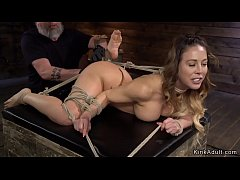 Ass hooked Milf sub on hogtie