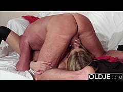 Perfect body blonde gets fucked hard by old dude