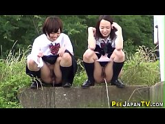 Asian teens gush piss and get watched