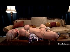 Gagged shaved pussy blonde gets toyed