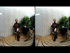 VRpussyVision.com - Young girl smokes topless and in leather skirt