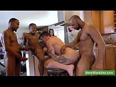 Muscular gay white man Beau Reed fucked by three black huge cocks