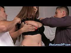 Bigtitted babe pouned in threesome