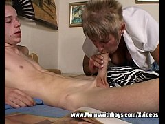 Grandma Nanny Sucking A Teen Boy's Big Cock