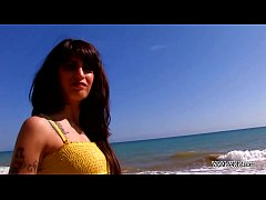Myfirstpublic Brutal brunette convince dude on the beach to fuck her wet pussy
