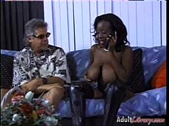 Big titted ebony Sierra in ffm interracial 3some