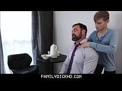 Blonde Twink Stepson Makes Stepdad Feel Better After Dad Gets Fired