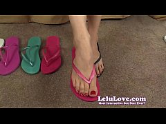 My bare feet closeups while trying on flip flop...