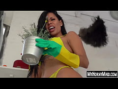Inked black housekeeper Canela Skin dicked up t...