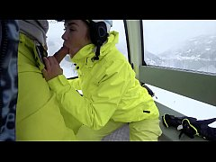 4K Public cumshot on mouth in ski lift Part 1, 2