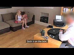 FakeAgentUK Cute and flexible blonde girl sprea...