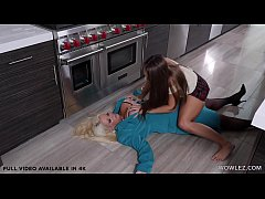 Rich Wife faints in kitchen to then be licked by housekeeper - Alura Jenson, Gia Derza