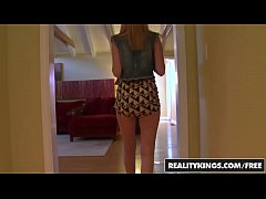 Cute young blonde (Mae Olsen) does porn for fir...
