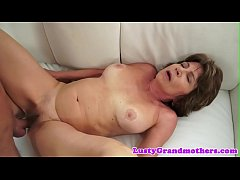 Busty grandma pussy banged from behind