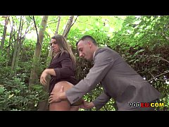 Brunette mature assfucked in the woods