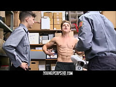 Young Twink Boy With Athletic Body Threesome With Black And Latino Security Guards
