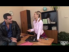 XXX office threesome with petite blonde Cloe gi...