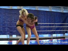 Glamcore babes wrestling and pussylicking