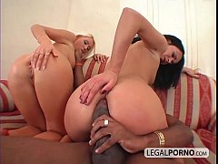 Interracial anal threesome with two hot babes M...