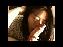Chinese slut sucks white cock and takes cumshot