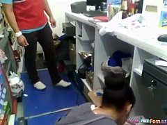 Store Clerk Gets Sucked By His Gf On The Job An...