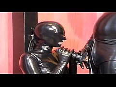 Black latex and rubber cock