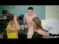 Double team by the horny teacher and the nurse