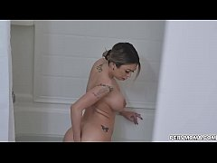 Naughty stepson caught stepmom rides her toy in the shower