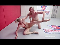 Arielle Aquinas mixed nude wrestling fight being fed a hard cock