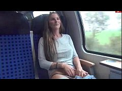 Horny teen masturbates herself on the train