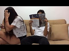 Asian teen fucked on sofa
